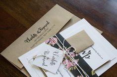 Vintage Wedding Invitation, Rustic Wedding Invitation, Kraft Wedding Invitation, Calligraphy Rustic Invite, Modern Rustic Invite, Simple by Shnabby on Etsy