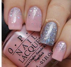 Pink + silver nails