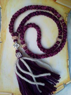Unique Purple Vine shade pure wool Orthodox russian/greek chotki komboskini prayer rope, rosary, 100 knot Tibetan silver Cross, blessed