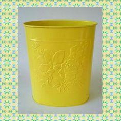 Wonderful Yellow Metal Trash Can Waste Receptacle Steel Garbage Bin MCM Mid Century  Modern Vintage Basket Flower Bathroom Office Decor Baby Nursery