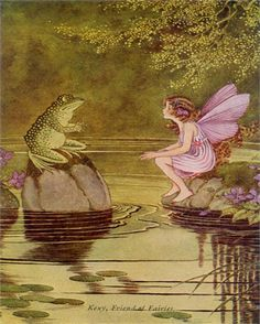 A lovely fairy and friendly frog have an enchanting conversation on the pond on the Frog and Fairy Vintage Artwork.   Delight your kid's room or nursery with this enchanting vintage wall art!
