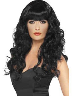 Going round in circles choosing the wig for your Ghost Town costume? Look no further than the Smiffys Long Curly Black Siren wig. Plus Prom Dresses, Black Siren, Black Tees, Ladies Fancy Dress, Queen Costume, Halloween Fancy Dress, Adult Halloween, Halloween Costumes, Halloween Parties