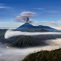 Happy Earth Day! A spectacular view of sacred volcanoes known as Mount Semeru, Mount Bromo, and Mount Batok on Java, Indonesia. Photo by @johnstanmeyer