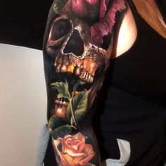 Colour Realism Arm Tattoo tattoo old school tattoo arm tattoo tattoo tattoos tattoo antebrazo arm sleeve tattoo Juncha Tattoo, Tattoos 3d, Skull Rose Tattoos, Skull Girl Tattoo, Skull Sleeve Tattoos, Badass Tattoos, Body Art Tattoos, Norse Tattoo, Warrior Tattoos