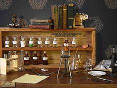 vintage burner, line up of apothecary bottles, lab glassware