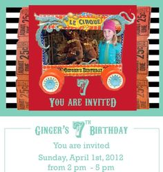 Gingers-invite- #Pirate-boats #kids #birthday #events Pirate Boats, Circus Party, You Are Invited, Pirates, Party Ideas, Events, Invitations, Baseball Cards, Birthday
