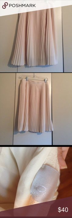 """NWOT Zero Degrees Celsius pleated skirt Gorgeous cream midi skirt by Zero Degrees Celsius. Pleated throughout, fully lined. Hidden zip closure at side. Skirt measures approximately 14"""" across waist and 23.5"""" from waist to hem. Fabric content not listed, feels like a heavy crepe blend of some sort. Zero degrees celsius  Skirts Midi"""