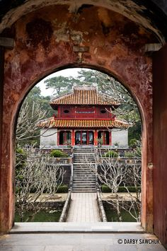 The Trung Dao Bridge and Pavillion at the Minh Mang Tomb near Hue, Vietnam.༺ ♠ ŦƶȠ ♠ ༻