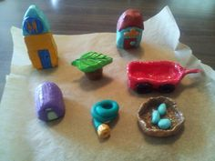 Working on some fairy garden accessories made.with Sculpey clay