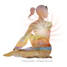 Yoga Art SITTING TWIST POSE small Yoga Wall Art Yoga by YogaColors