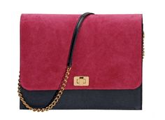 JENNY BRING IT ON FLAP BAG – Shanaz Designs  Fuchsia Suede and Navy Leather, Gold Plated Hardware