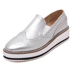 Moda 2016 Mujeres Pisos Resbalón de Cuero de La Vendimia Mujeres Mocasines Primavera Otoño Plataforma Creepers Casual Zapatos de Los Planos