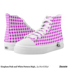 Gingham Pink and White Pattern High Top Shoes - Printed Unisex Canvas Slip-On #Shoes Creative Casual #Footwear #Fashion #Designs From Talented Artists - #sneakers #feet #fashion #design #fashiondesign #designer #fashiondesigner #style - Look sporty stylish and elegant in a pair of unique custom sneakers - Each pair of custom Low Top ZIPZ Shoes is designed so you can fit your style to any wardrobe mood party or occasion - Fashionable sneakers for kids and adults give you a unique and…