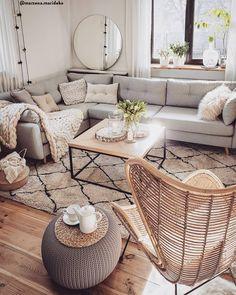 Living Room Scandinavian, Cozy Living Rooms, Home Living Room, Living Room Designs, Living Room Decor, Style Boho, Beige Sofa, Hygge Home, Home Decor Ideas