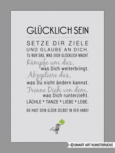 """Original print - """"BE HAPPY"""" art print - a unique design of Smart-Art -. Words Quotes, Life Quotes, Sayings, German Quotes, True Words, Cool Words, Quotations, Inspirational Quotes, Motivational Quotes"""