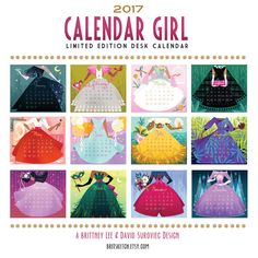 The 2017 Calendar Girl -Brittney Lee<<<I hope tigers one for Calendar Girls, Brittney Lee, Girl Standing, Desk Calendars, Illustration, Card Stock, Crochet Hats, Packing, Kids Rugs