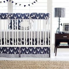 Navy Deer Head Woodland Crib Bedding for Boys | Buck Forest in Navy Baby Bedding