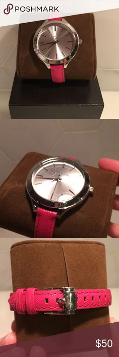 Michael Kors Slim Watch Silver Pink Good used condition. Some minor wear on band and small scratches on face. Took photos that would accentuate scratch flaws.   Needs a new battery.  Includes original receipt and box. Purchased at Macy's.  Slim Runway Collection Japanese Quartz Movement 50 Meters / 165 Feet / 5 ATM Water Resistant Pink leather band Style: MK 2272 Michael Kors Accessories Watches