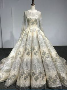 Long Sleeve Gold Luxury Diamond Sparkly Wedding Dress · Happybridal · Online Store Powered by Storenvy Super gorgeous wedding dresses Bridal Dresses, Wedding Gowns, Prom Dresses, Dress Prom, Backless Wedding, Glitter Wedding, Glitter Hair, Purple Wedding, Quinceanera Dresses