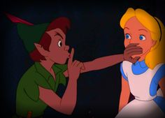 Ssssssshhhhhh Alice - Peter Pan and Alice sneaking at Captain Hook