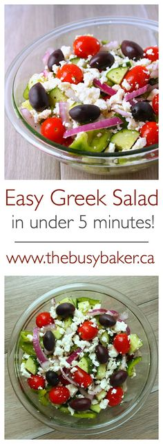 Easy Greek Salad 1 green chili pepper 1 cups grape tomatoes 1 long English cucumber small red onion cup feta cheese, crumbled (I use reduced-fat feta) cup Kalamata olives 2 tbsp red wine vinegar 2 tsp olive oil 1 tsp dried basil 1 tsp Greek oregano Easy Greek Salad Recipe, Greek Salad Recipes, Snack Recipes, Cooking Recipes, Healthy Recipes, Easy Salad Recipes, Quick Meals To Make, Food To Make, Healthy Cooking