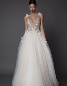 Charming Beaded Pearls Prom Gowns,Sexy Deep V Neck Spaghetti Straps Backless Prom Dresses,A-line Tul on Luulla 2015 Wedding Dresses, Bridal Dresses, Wedding Gowns, Backless Prom Dresses, Backless Wedding, Prom Gowns, Luulla Dresses, The Dress, Pretty Dresses