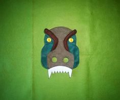 Handmade felt T-Rex mask. Tyranosaurus Rex mask. Dinosaur mask. With elastic, ready to wear. Made from 2-3 layers of solid felt. Fits from toddler