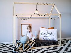 Toddler House Bed - CRIB Size, Wood Bed, Nursery, Crib Mattress, home, wooden, natural wood, modern, floor bed,