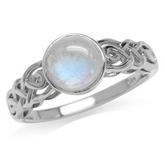 Natural Moonstone White Gold Plated 925 Sterling Silver Celtic Knot Solitaire Ring Sizes 5 -12