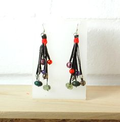 Knotted Gemstone Tassle Leather Suede Earrings £15.00