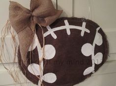 Big Brown Burlap Football Burlap Door Hanging by nursejeanneg, $30.00
