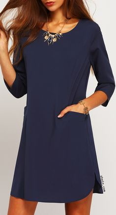 Navy Concert Half Sleeve Pockets Dress