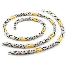 Hpolw Gold and Silver High Quality Men Byzantine Chain Necklace 6mm Stainless Steel Bracelet Set Hpolw http://www.amazon.com/dp/B00Y2FE99M/ref=cm_sw_r_pi_dp_Qvr5vb0R82V4K