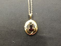 Vintage Small Goldtone Ruby Red Rhinestone Petite Oval Pendant Necklace Holiday #Unbranded
