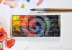 Box Of Watercolors And Brushes On Paper - Download From Over 34 Million High Quality Stock Photos, Images, Vectors. Sign up for FREE today. Image: 57633575