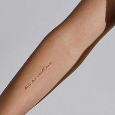 This Too Shall Pass Temporary Tattoo (Set of - Trend Tattoo Fonts 2019 Cursive Tattoos, Verse Tattoos, Small Quote Tattoos, Cute Small Tattoos, Word Tattoos, Mini Tattoos, Small Meaningful Tattoos, Tattoo Script, Tatoos