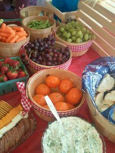 Table spread to look like a farmer's market
