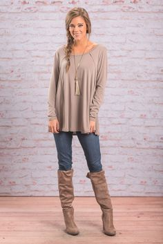 """This is another way I like my tops to look w/my pants/jeans.    I can wear this look in the office or out to dinner.   """"Exaggerated Seam Long Sleeve Top - Taupe"""""""