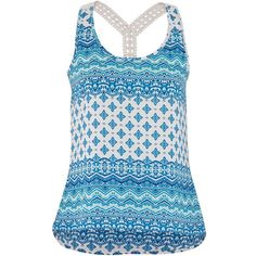 maurices Mixed Print Chiffon Tank With Lace Straps ($11) ❤ liked on Polyvore featuring tops, shirts, blue twilight, print shirts, blue shirt, print tank top, pattern shirts y blue chiffon top