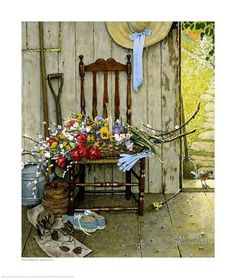 Norman Rockwell, Spring Flowers, Basket Chair Farmhouse, Post Magazine Cover…