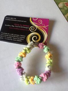 My own original design of #loom #loomband #bracelet #rainbow #melibobble in #pastels #handmade #jewellery £2.50 www.madebymelissa.co.uk