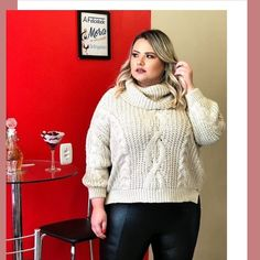 Turtleneck, Plus Size, Lady, Sweaters, Leather, Fashion, Moda, La Mode, Sweater