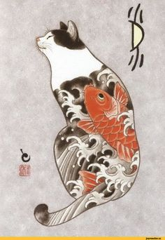 A Japanese tattoo artist based in California named Kazuaki Horitomo has a fascination for both cats and tattoos. Therefore, he decided to put these two Japanese Tattoo Women, Japanese Tattoo Art, Japanese Tattoo Designs, Japanese Sleeve Tattoos, Japanese Cat, Japanese American, Japanese Patterns, Japanese Prints, Tattoo Gato
