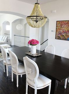 house tours, las vegas, dining rooms, dine room, dining chairs, painted chairs, light, black, dining tables