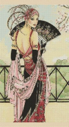 Cross stitch chart Art Deco Lady 14 | eBay