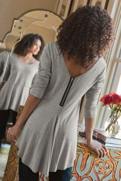 Back Zip Top - Exposed Zipper Top, Tops , Clothing | Soft Surroundings