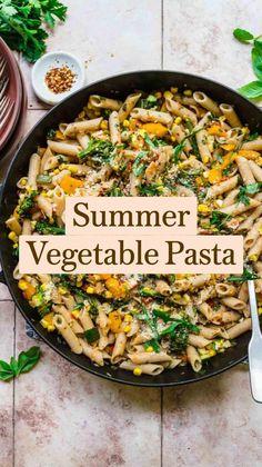 Raw Food Recipes, Veggie Recipes, New Recipes, Vegetarian Recipes, Dinner Recipes, Healthy Recipes, Summer Pasta Dishes, Vegetable Pasta, Vegan Meal Prep