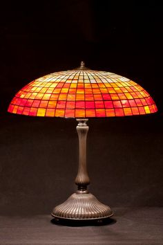 Size: • Height 15 cm (5,9) • Diameter of shade 50 cm (19 )  Main style of the lamp: ombre white-red simple vintage parasol pattern with base. Stained glass lamp, made using L.C. Tiffany metod of copper foil and glass from Uroboros and Youghiogheny. These are American most famous glassworks. Every glass pane is manmade. Solders are very solid and smooth, what guarantee durability for dozens of years. It's handmade product made in Gdansk, Poland. Lamp is very nice in touch and beautifully…