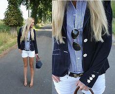 White shorts, pinstripe & navy blaser