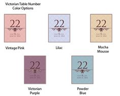 Victorian Table Number (Many Colors Available)